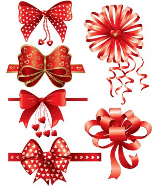 Red bows with hearts