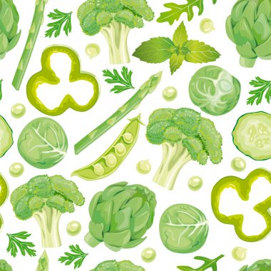 Seamless pattern of green vegetables