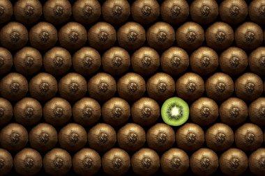 Sliced kiwi between group