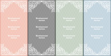 Vector set of restaurant menu cards