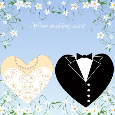 Vector wedding set for greeting card