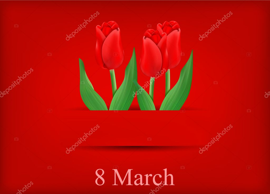 Vector greeting card with bouquet of tulips