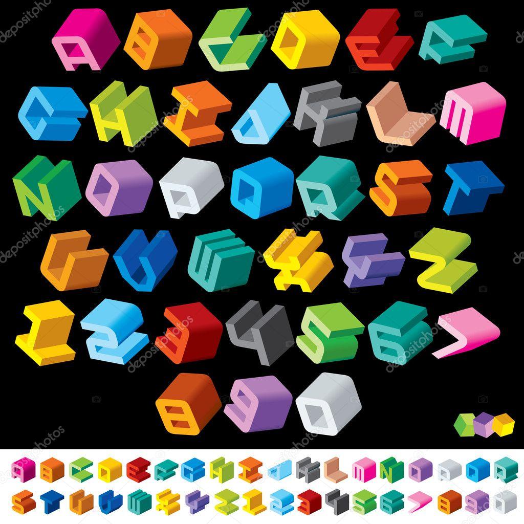 D Alphabet Letters Psd