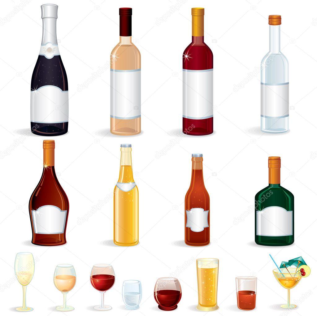 Bottle icons stock vector pilart 8437806 for Liquor bottle art