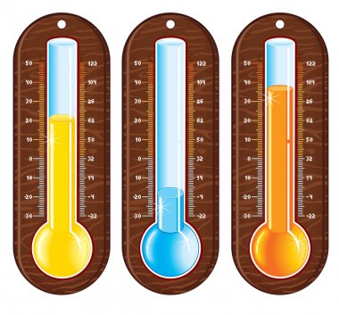 Retro styled liquid thermometers with different temperatures clip art vector