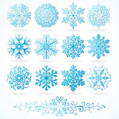 3D Vector Snowflakes, Set of Festive Decorative