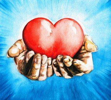 Hands holding heart.