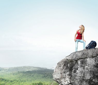 Happy young woman with backpack standing on cliff's edge and looking to a sky stock vector