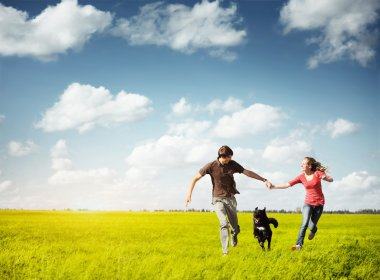 Young happy couple runnig on a green meadow with a dog stock vector