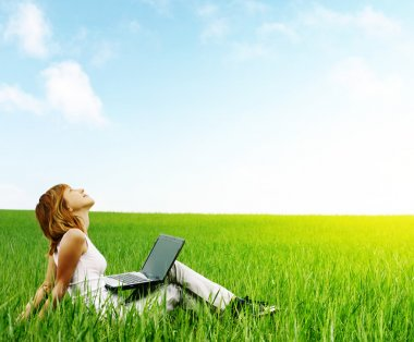 Young smiling woman with laptop sitting in meadow with green grass stock vector