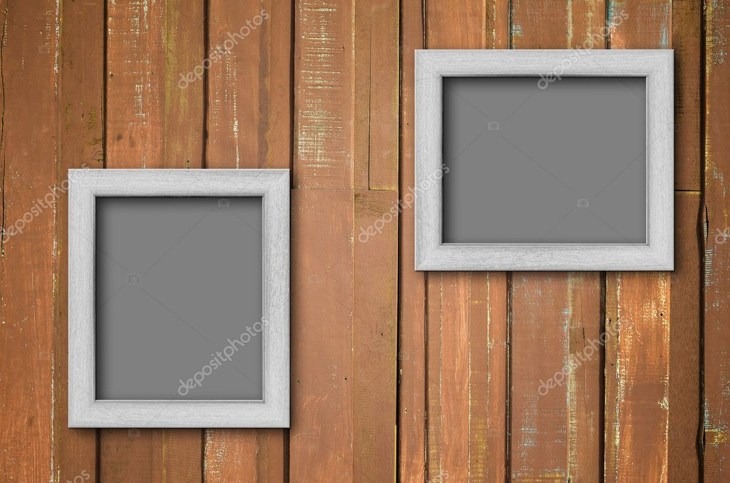 weiße Holz Bilderrahmen an braun Wand — Stockfoto © nuttakit #10066713