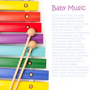 Wooden rainbow colors xylophone for development of babies musica