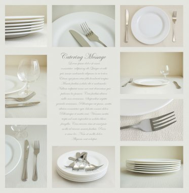 Collage of nine images of tableware with white dishes and silver