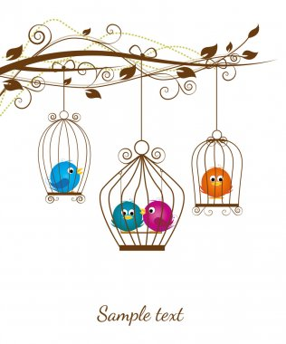 Colorful birds in a cage on a white background stock vector