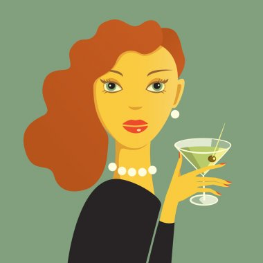 Red haired woman holding a dry martini clip art vector