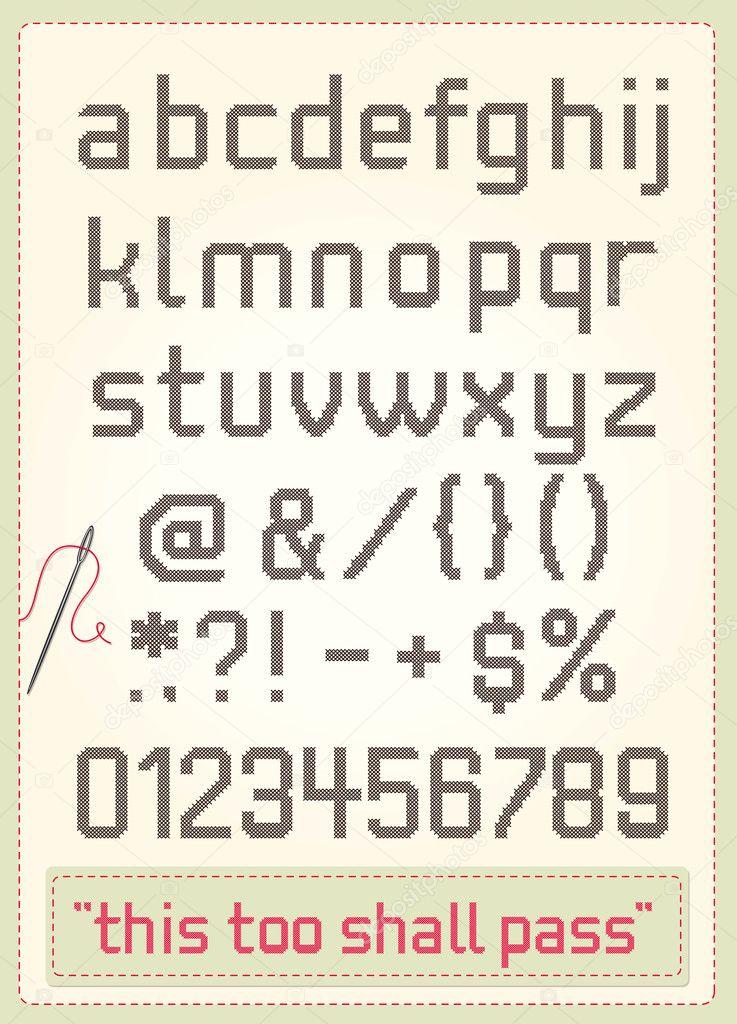 Punto Croce Alfabeto Vettoriali Stock Studio 9686042