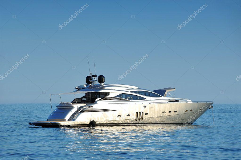 Luxury yacht at open sea