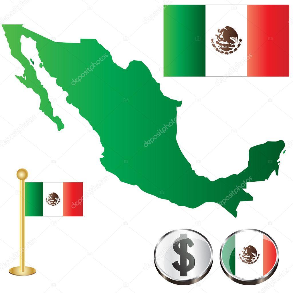 Vector Republica Mexicana Icono Mapa De México Vector De Stock