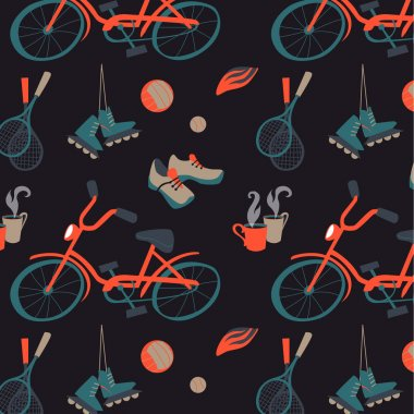Sports equipment for a friendly pastime. Seamless pattern