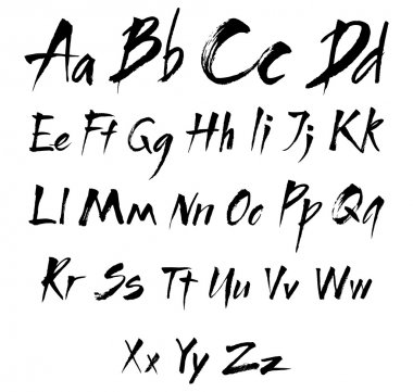 The alphabet in calligraphy brush