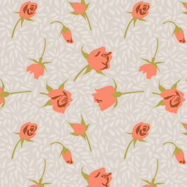 Seamless tiny floral pattern on a gray background