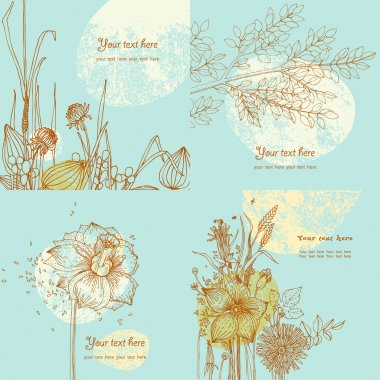 Summer greeting cards with wild flowers and tree branch. A set of cards. Vector.