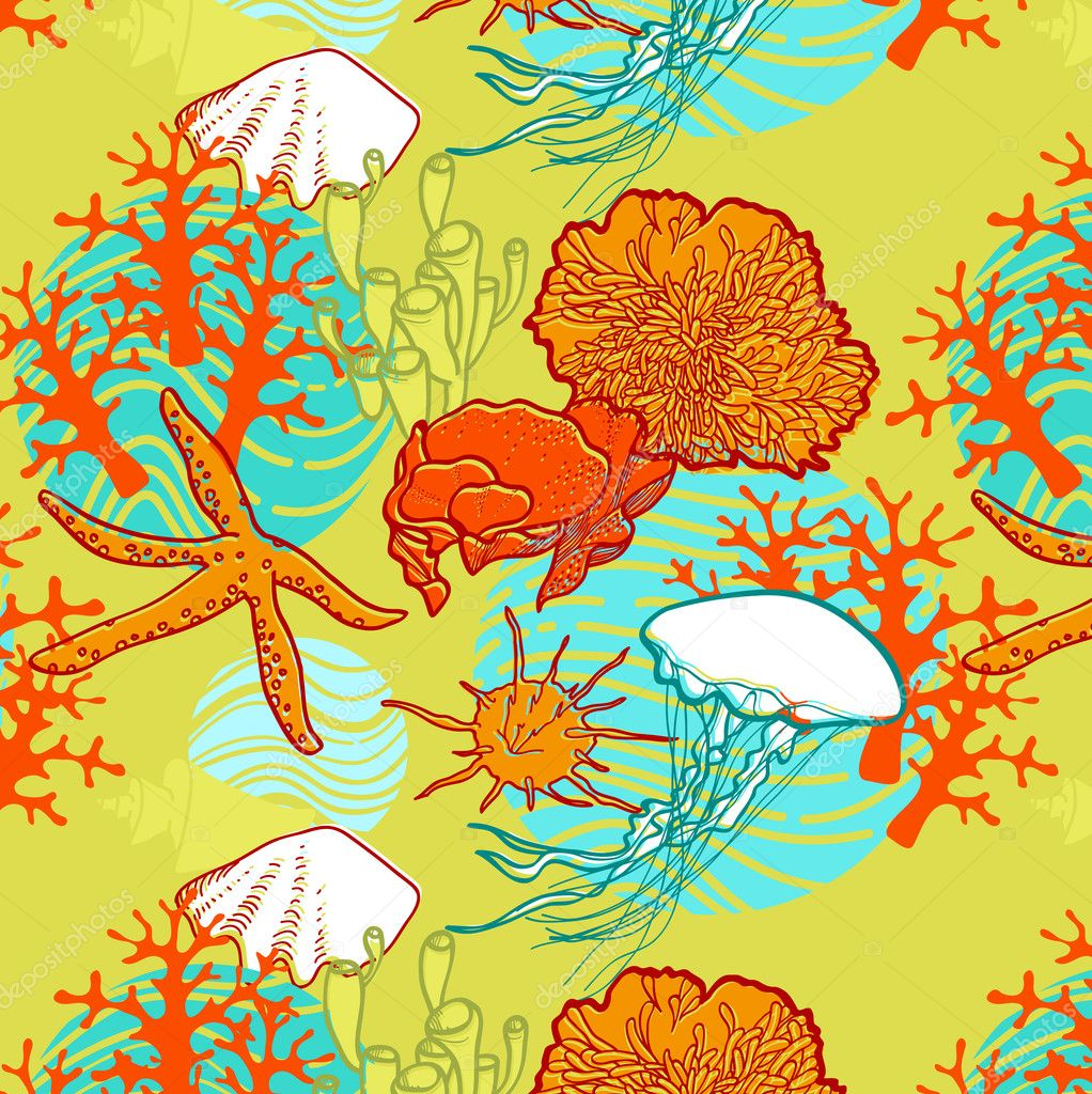 Underwater world through the eyes of the diver. Seamless pattern