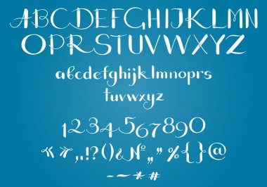Living hand-writing of Latin letters clip art vector