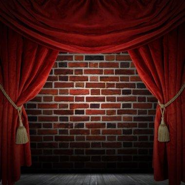 Red curtain room. illustration