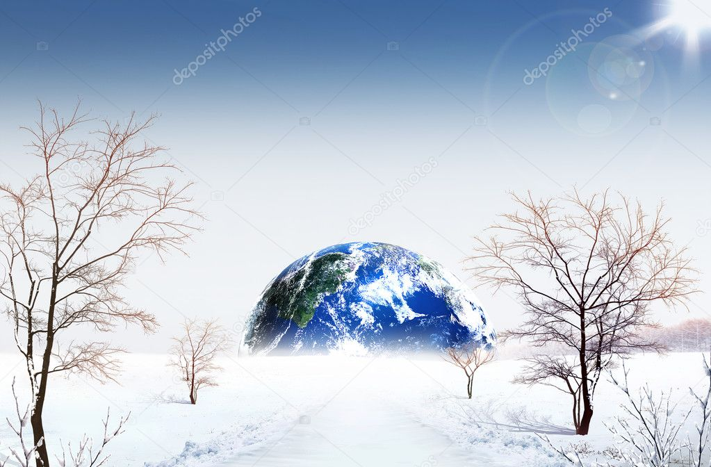 Planet winter. ecological concept
