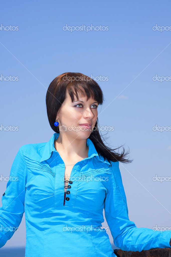 Brunette With Blue Eyes Stock Photo C Violanda 10540027