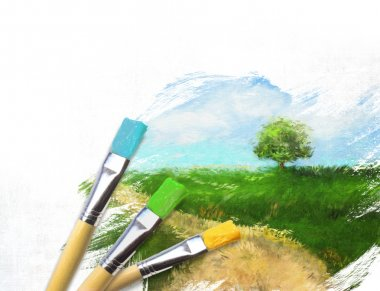 Artist brushes with a half finished painted canvas of rural landscape stock vector