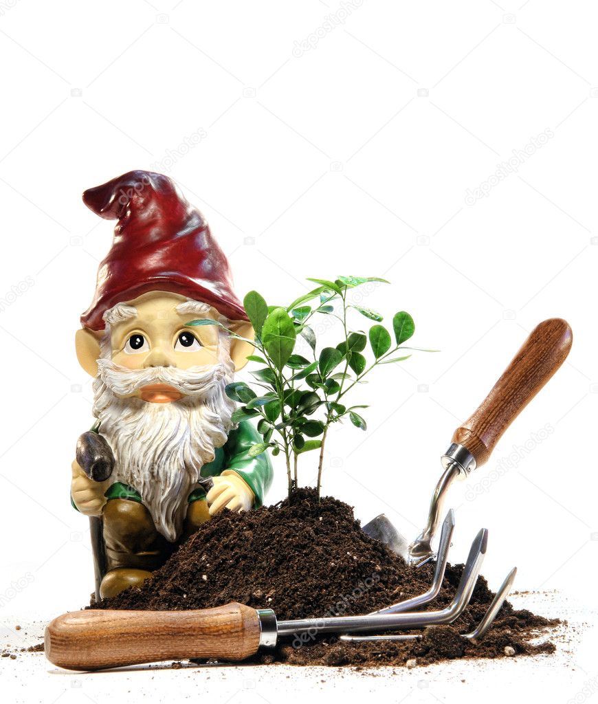 Garden gnome and tools for spring planting