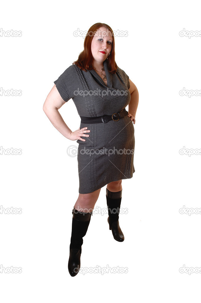 A Young Pretty Full Figured Woman In Gray Dress And Black Boots With Brown Red Hair Standing For White Background Photo By Sucher