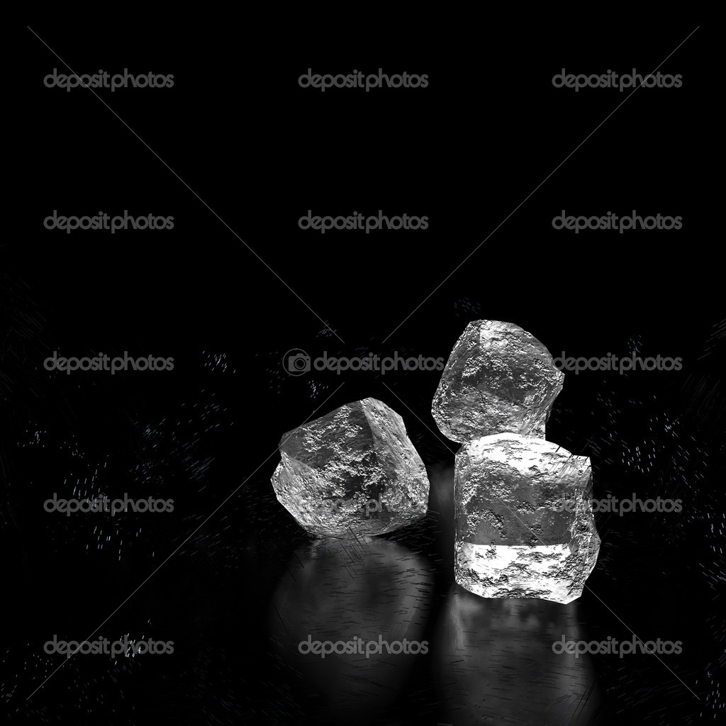 Cubes of ice on a black background for avd