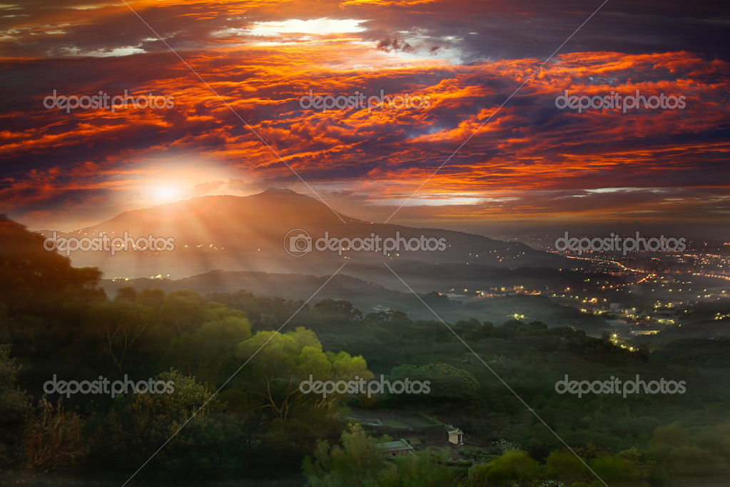 Guanyin Mountain Sunrise, the new Taipei, Taiwan
