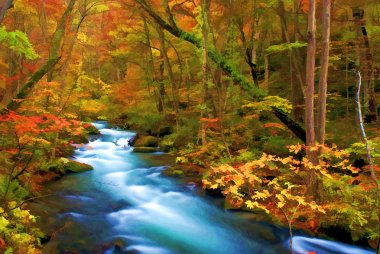 Autumn Color of Oirase River, Japan (Painting style)