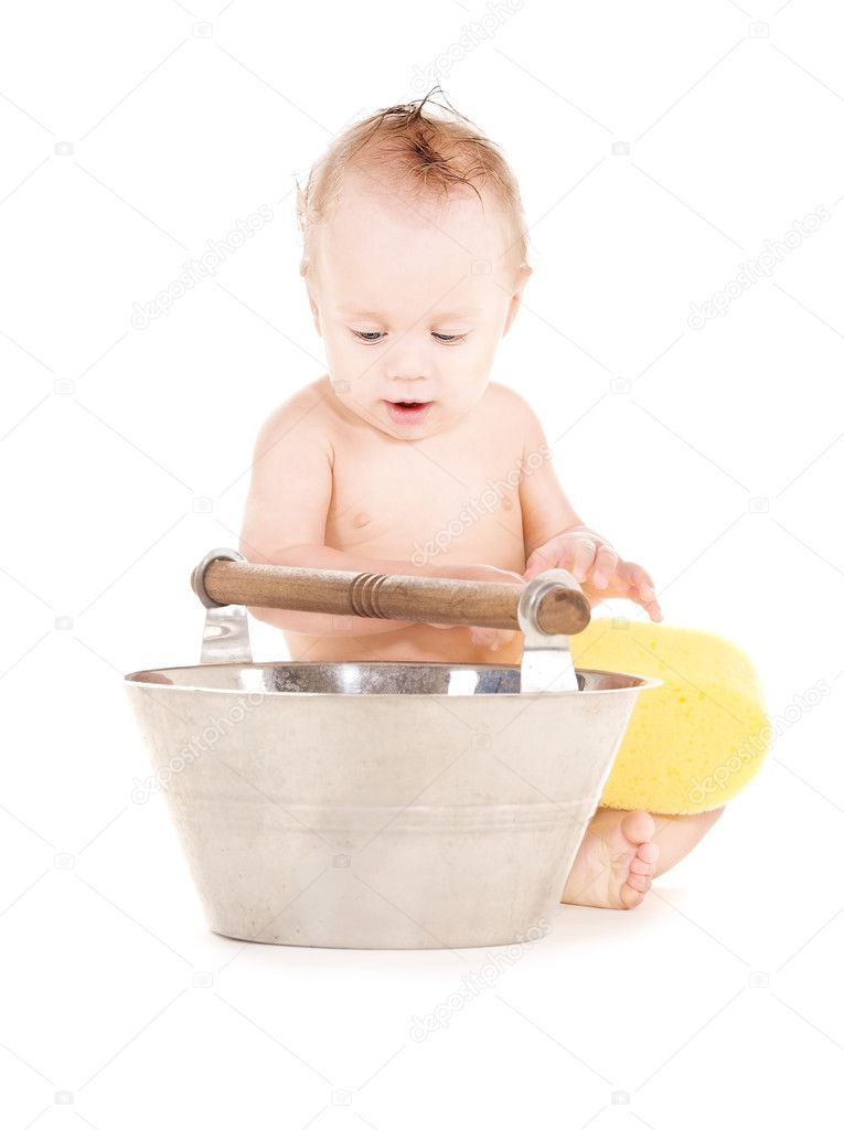 Baby boy with wash-tub — Stock Photo © Syda_Productions #8320854