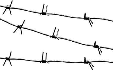 Barbed wire pattern vector.