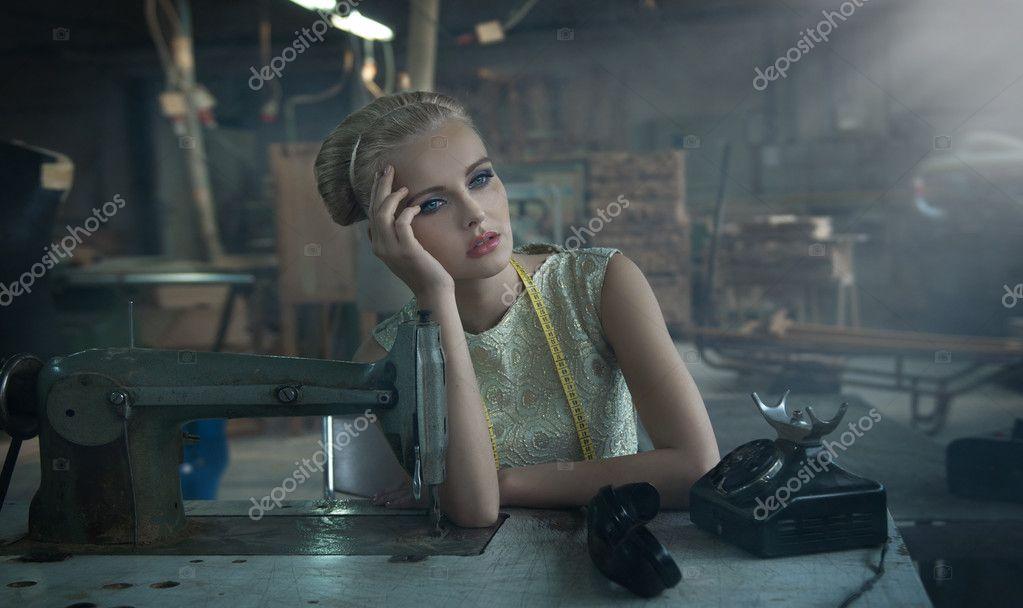 Fashionable blonde posing