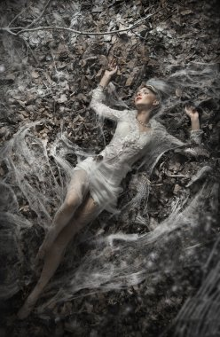Fine art photo of a sexy woman lying on leaves