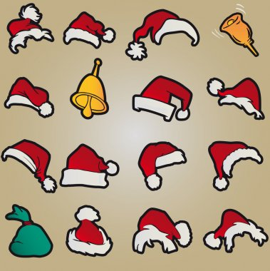 Set santa claus hats clothing christmas icons vector