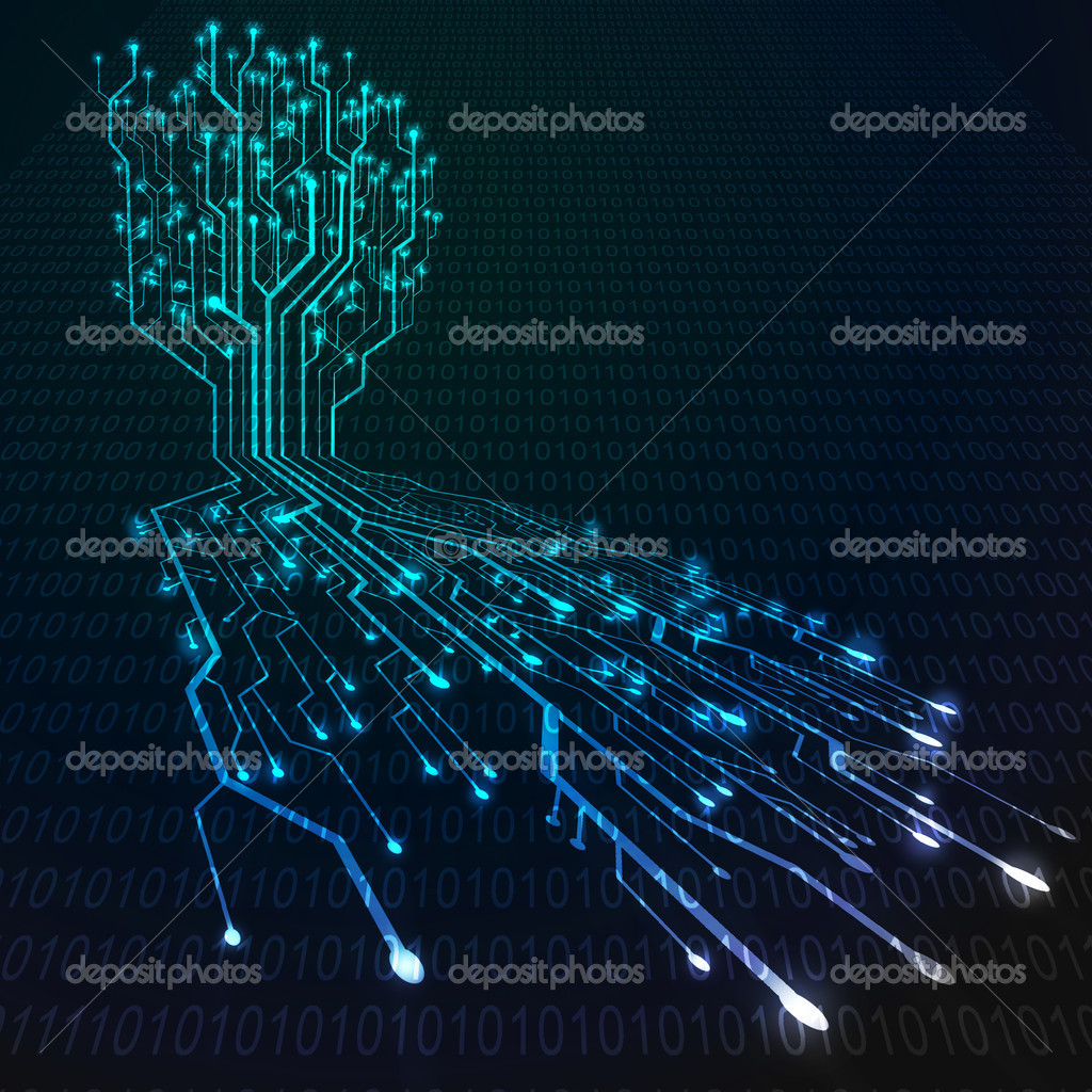 Circuit board in Tree and root shape, Technology background