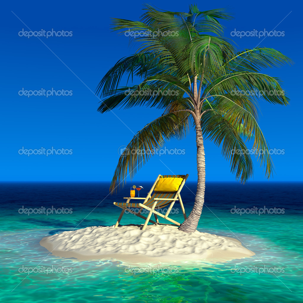 A small tropical island with a beach chaise longue