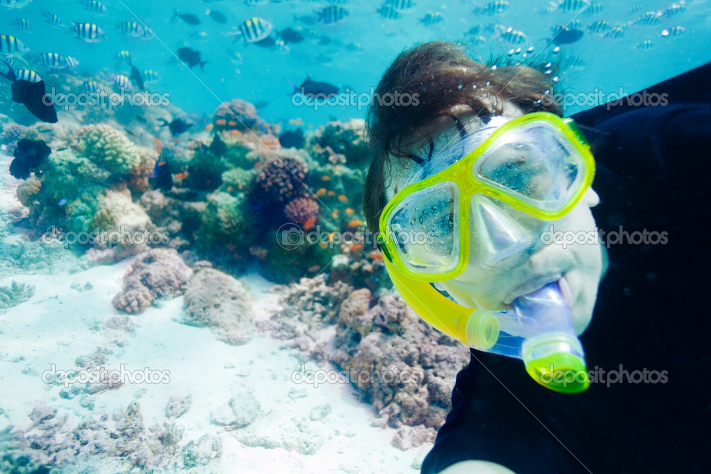Underwater self photo of the scuba diver