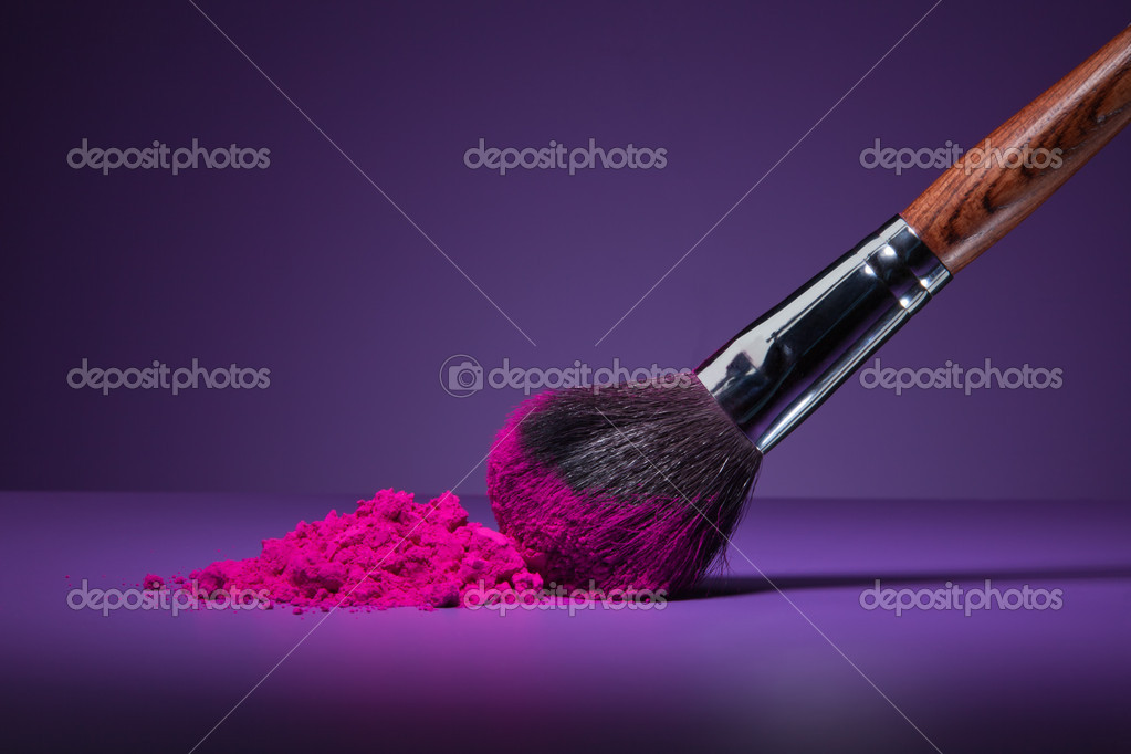 Clouse-up of makeup brush and face powder on purple background stock vector