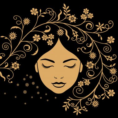 Face of girl with the closed eyes on a black background stock vector