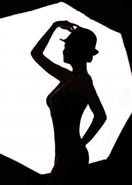 Stylish silhouette beautiful woman dancing