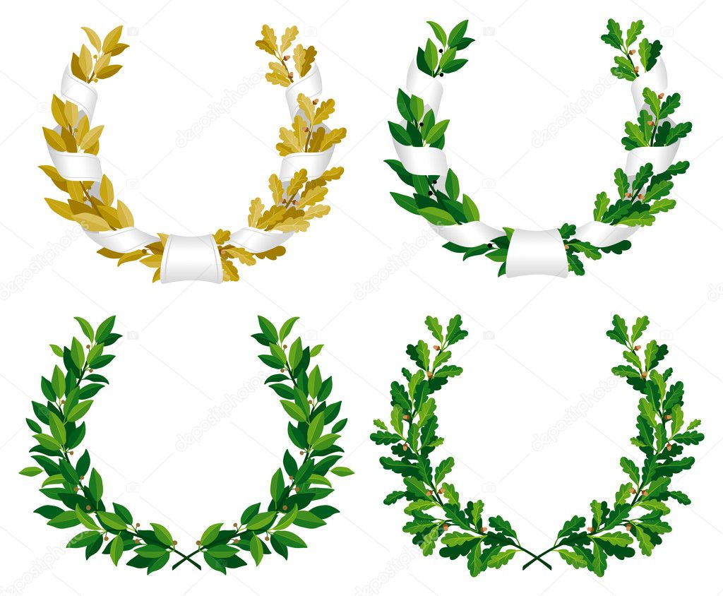 Set of the laurel and oak wreaths with green and bronze leaves stock vector