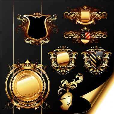 Set of ornamental golden heraldic elements